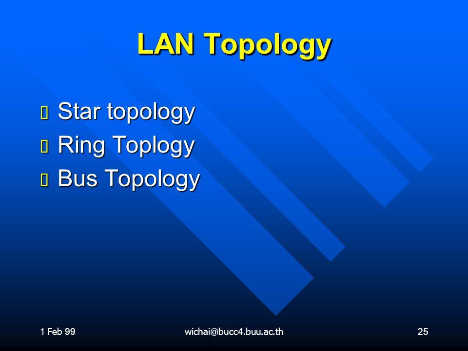 1 Feb 99wichai@bucc4.buu.ac.th25 LAN Topology ต Star topology ต Ring Toplogy ต Bus Topology