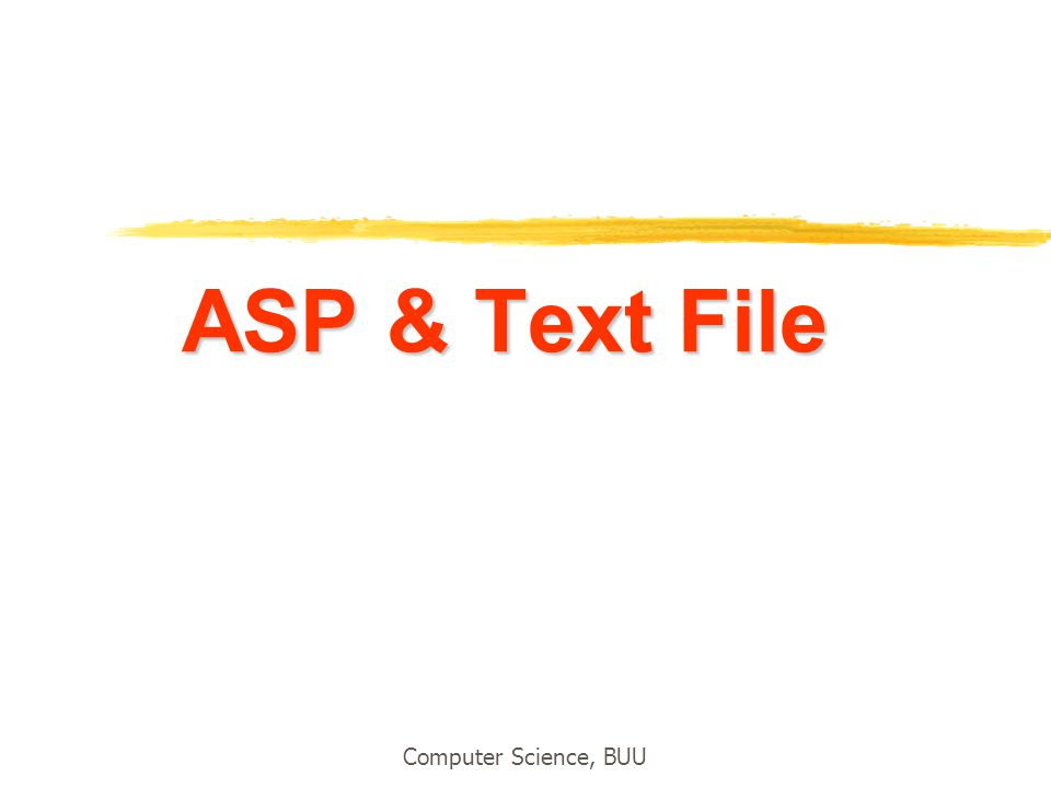 Computer Science, BUU ASP & Text File