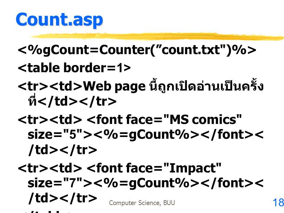 18 Computer Science, BUU Count.asp Web page นี้ถูกเปิดอ่านเป็นครั้ง ที่