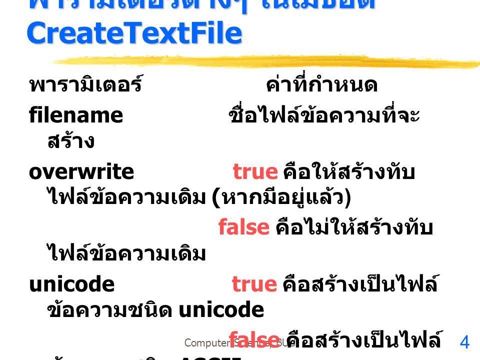 4 Computer Science, BUU พารามิเตอร์ต่างๆ ในเมธอด CreateTextFile พารามิเตอร์ ค่าที่กำหนด filename ชื่อไฟล์ข้อความที่จะ สร้าง overwrite true คือให้สร้าง