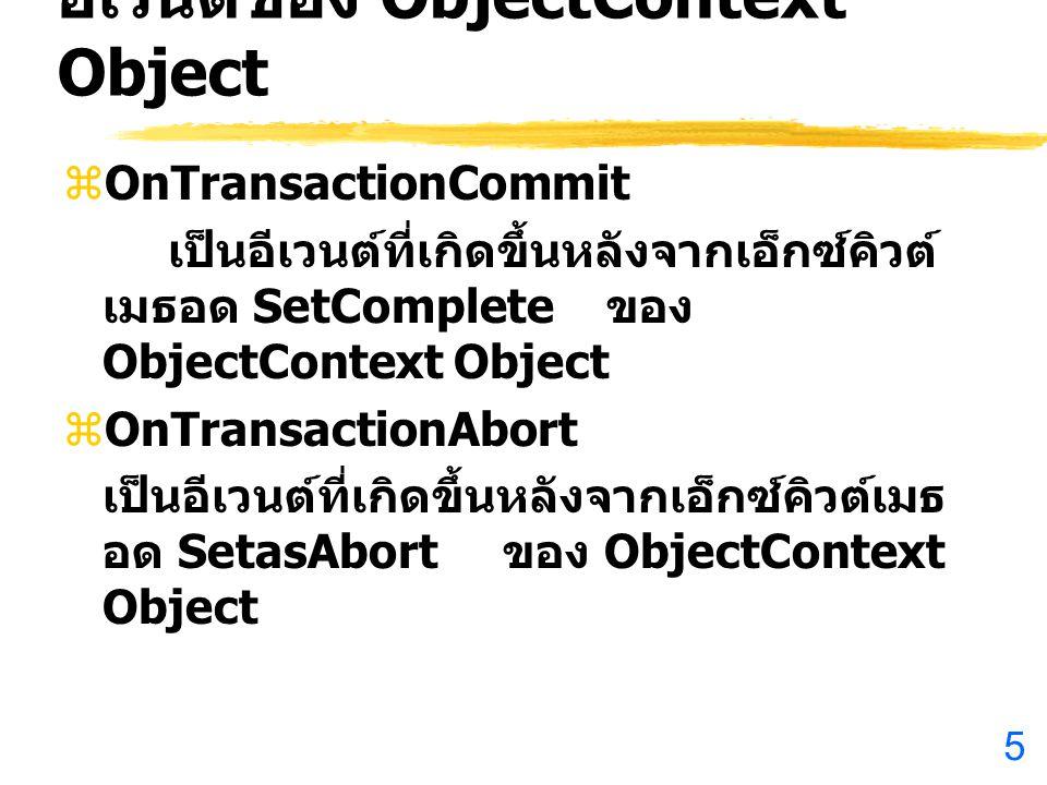 5 อีเวนต์ของ ObjectContext Object  OnTransactionCommit เป็นอีเวนต์ที่เกิดขึ้นหลังจากเอ็กซ์คิวต์ เมธอด SetComplete ของ ObjectContext Object  OnTransactionAbort เป็นอีเวนต์ที่เกิดขึ้นหลังจากเอ็กซ์คิวต์เมธ อด SetasAbort ของ ObjectContext Object