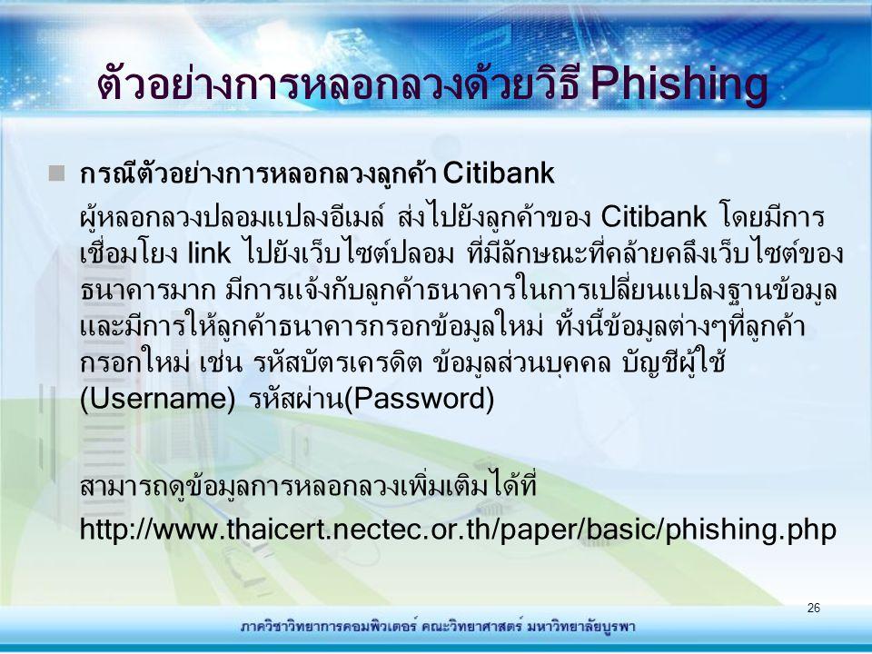 26 ตัวอย่างการหลอกลวงด้วยวิธี Phishing กรณีตัวอย่างการหลอกลวงลูกค้า Citibank ผู้หลอกลวงปลอมแปลงอีเมล์ ส่งไปยังลูกค้าของ Citibank โดยมีการ เชื่อมโยง li