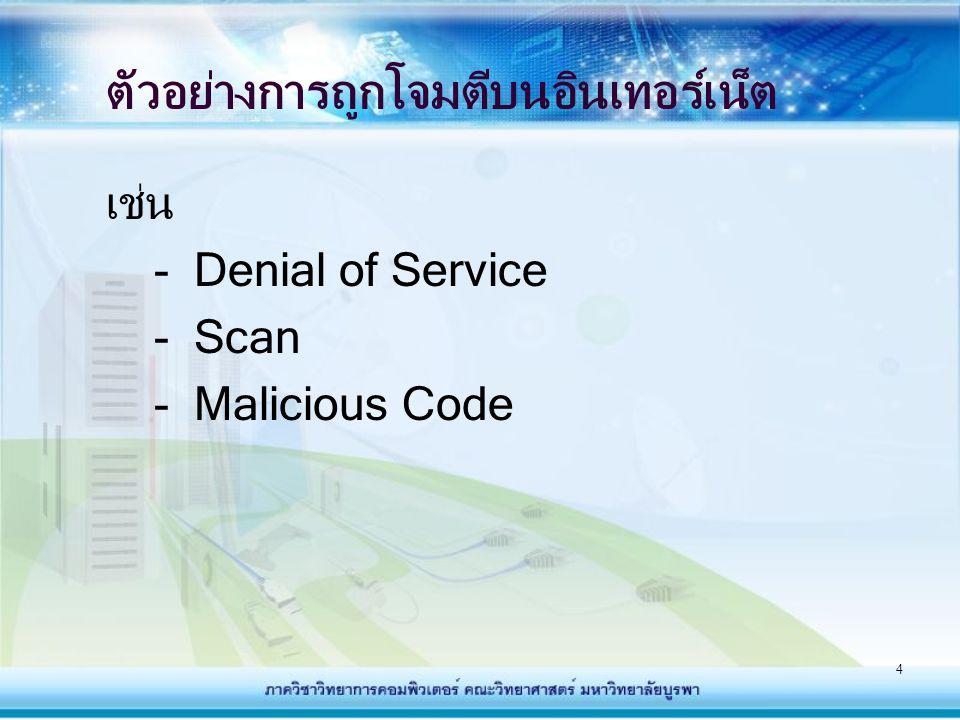 35 ลักษณะของ Firewall - ไม่อนุญาตการ Login สำหรับผู้ใช้ที่ไม่มีสิทธิ์ในการเข้า ใช้งานในเครือข่าย - แต่ผู้ใช้ที่มีสิทธิ์ใช้งานจะมีสิทธิ์ใช้งานทั้งภายในและติดต่อ ภายนอกเครือข่ายได้ โดยจำกัดข้อมูลจากภายนอก เครือข่าย ไม่ให้เข้ามาในเครือข่าย - ไม่สามารถป้องกันการโจมตีจากภายในเครือข่ายกันเอง - ไม่สามารถป้องกันการบุกรุกที่สามารถมากับโปรแกรม ประยุกต์ต่าง ๆ ไวรัส และอันตรายในรูปแบบวิธีใหม่ๆได้