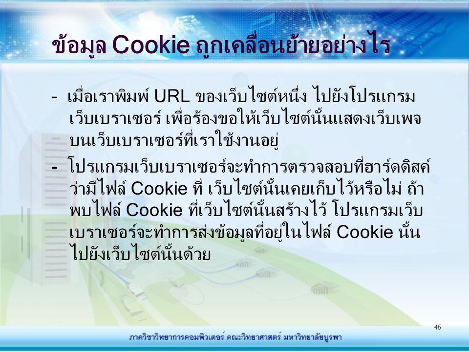 45 ข้อมูล Cookie ถูกเคลื่อนย้ายอย่างไร - เมื่อเราพิมพ์ URL ของเว็บไซต์หนึ่ง ไปยังโปรแกรม เว็บเบราเซอร์ เพื่อร้องขอให้เว็บไซต์นั้นแสดงเว็บเพจ บนเว็บเบร