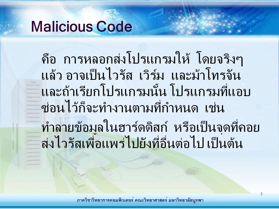 7 Malicious Code คือ การหลอกส่งโปรแกรมให้ โดยจริงๆ แล้ว อาจเป็นไวรัส เวิร์ม และม้าโทรจัน และถ้าเรียกโปรแกรมนั้น โปรแกรมที่แอบ ซ่อนไว้ก็จะทำงานตามที่กำ