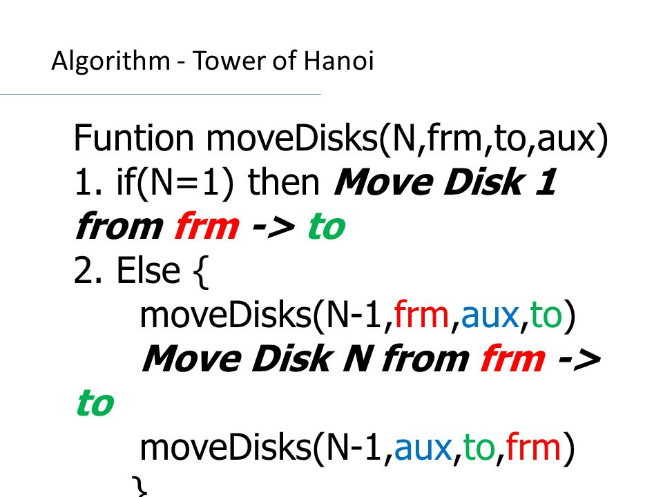 Funtion moveDisks(N,frm,to,aux) 1.if(N=1) then Move Disk 1 from frm -> to 2.