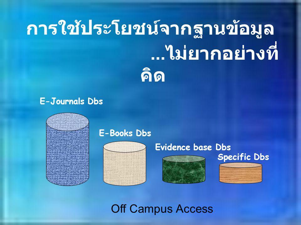 การใช้ประโยชน์จากฐานข้อมูล... ไม่ยากอย่างที่ คิด E-Journals Dbs E-Books Dbs Evidence base Dbs Specific Dbs Off Campus Access