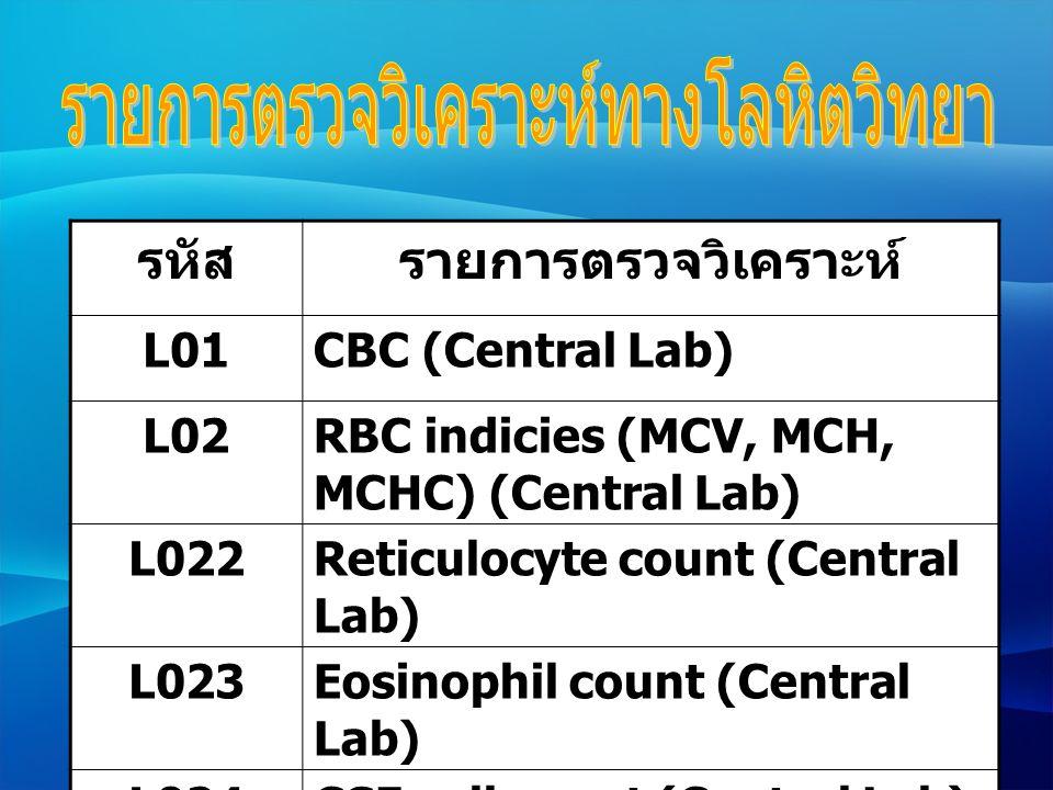 รหัสรายการตรวจวิเคราะห์ L025Fluid cells count (Central Lab) L0261ESR (Central Lab) L027Bleeding time (Central Lab) L038Semen Analysis (Central Lab) L039Malaria (Thin film) (Central Lab)