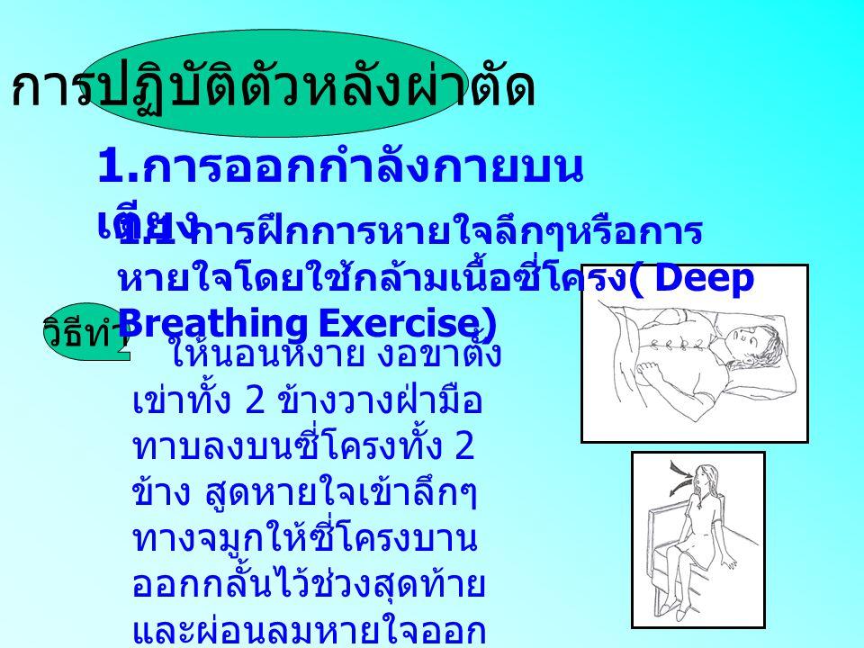 1. การออกกำลังกายบน เตียง ให้นอนหงาย งอขาตั้ง เข่าทั้ง 2 ข้างวางฝ่ามือ ทาบลงบนซี่โครงทั้ง 2 ข้าง สูดหายใจเข้าลึกๆ ทางจมูกให้ซี่โครงบาน ออกกลั้นไว้ช่วง