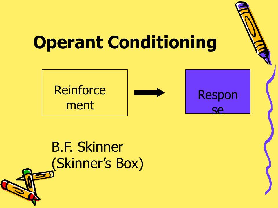 Operant Conditioning Reinforce ment Respon se B.F. Skinner (Skinner's Box)