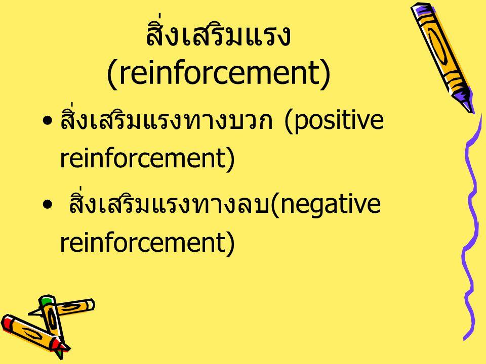 สิ่งเสริมแรง (reinforcement) สิ่งเสริมแรงทางบวก (positive reinforcement) สิ่งเสริมแรงทางลบ (negative reinforcement)