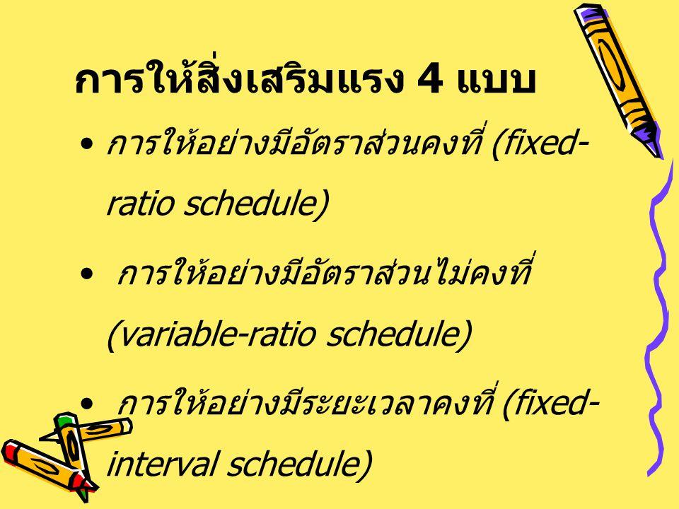 การให้สิ่งเสริมแรง 4 แบบ การให้อย่างมีอัตราส่วนคงที่ (fixed- ratio schedule) การให้อย่างมีอัตราส่วนไม่คงที่ (variable-ratio schedule) การให้อย่างมีระย