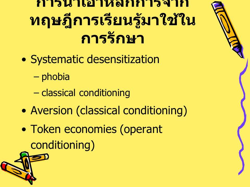 การนำเอาหลักการจาก ทฤษฎีการเรียนรู้มาใช้ใน การรักษา Systematic desensitization –phobia –classical conditioning Aversion (classical conditioning) Token