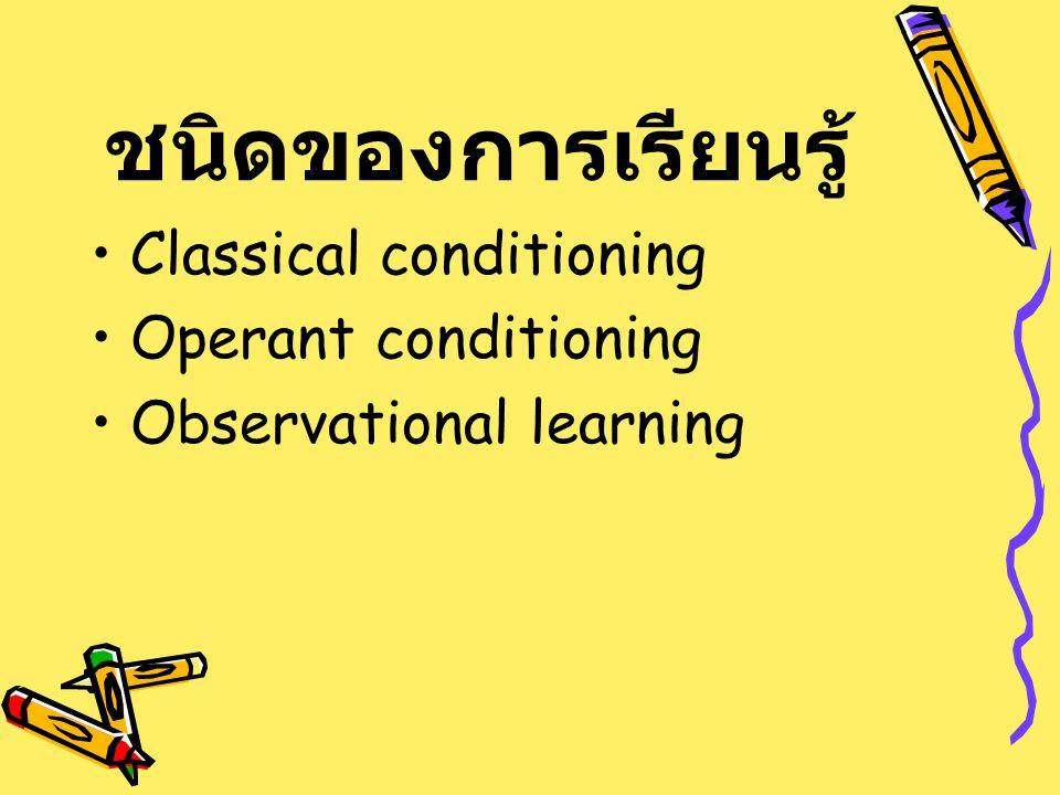 ชนิดของการเรียนรู้ Classical conditioning Operant conditioning Observational learning