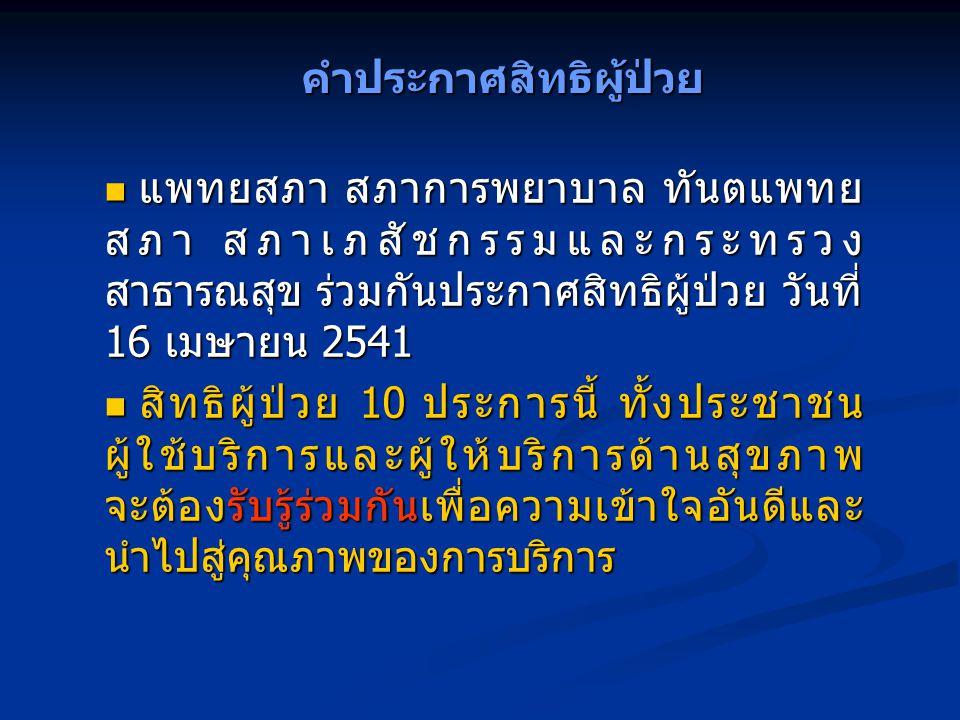 คำประกาศสิทธิผู้ป่วย แพทยสภา สภาการพยาบาล ทันตแพทย สภา สภาเภสัชกรรมและกระทรวง สาธารณสุข ร่วมกันประกาศสิทธิผู้ป่วย วันที่ 16 เมษายน 2541 แพทยสภา สภาการ