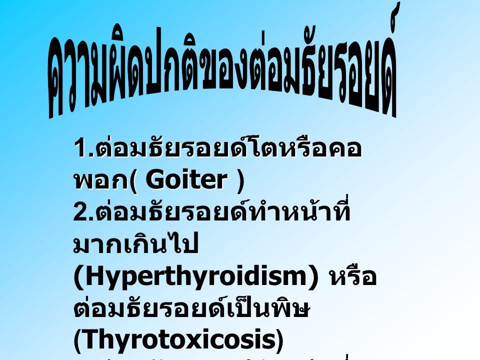 ต่อมธัยรอยด์จะหลั่ง ฮอร์โมน 2 ชนิด 1. ธัยรอกซิน ( Thyroxine ) T4 2. ไตรไอโอโดธัยโรนิน ( Triiodothyronine ) T3