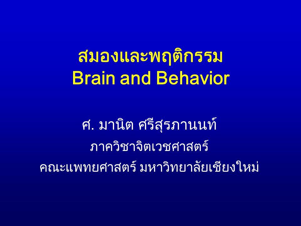 สมองและพฤติกรรม Brain and Behavior ศ. มานิต ศรีสุรภานนท์ ภาควิชาจิตเวชศาสตร์ คณะแพทยศาสตร์ มหาวิทยาลัยเชียงใหม่