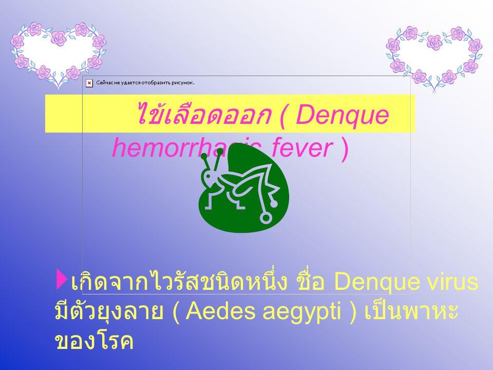 ไข้เลือดออก ( Denque hemorrhagic fever )  เกิดจากไวรัสชนิดหนึ่ง ชื่อ Denque virus มีตัวยุงลาย ( Aedes aegypti ) เป็นพาหะ ของโรค