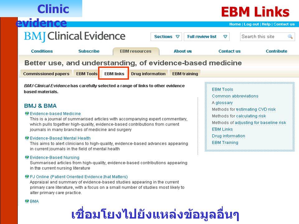 Clinic evidence EBM Links เชื่อมโยงไปยังแหล่งข้อมูลอื่นๆ