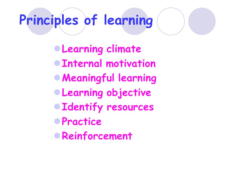 Principles of learning Learning climate Internal motivation Meaningful learning Learning objective Identify resources Practice Reinforcement