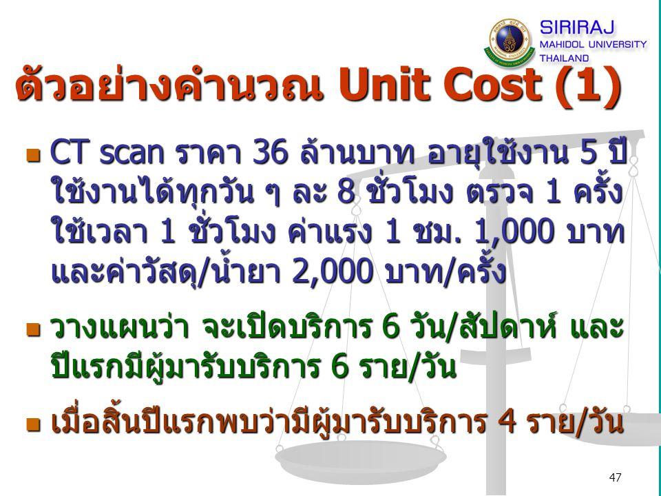 48 ตัวอย่างคำนวณ Unit Cost (2) Standard unit cost (บาท/ครั้ง) = (36 ล้าน/5/365/8) + 3,000= 5,466 Standard unit cost (บาท/ครั้ง) = (36 ล้าน/5/365/8) + 3,000= 5,466 Plan unit cost (บาท/ครั้ง) = (36 ล้าน/5/312/6) + 3,000= 6,846 Plan unit cost (บาท/ครั้ง) = (36 ล้าน/5/312/6) + 3,000= 6,846 Actual unit cost (บาท/ครั้ง) = (36 ล้าน/5/312/4) + 3,000= 8,769 Actual unit cost (บาท/ครั้ง) = (36 ล้าน/5/312/4) + 3,000= 8,769 Variance (Plan cost V.S.