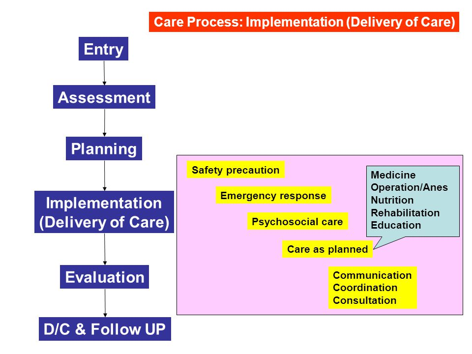 Entry Assessment Planning Implementation (Delivery of Care) Evaluation D/C & Follow UP Care Process: Implementation (Delivery of Care) Emergency response Safety precaution Psychosocial care Care as planned Communication Coordination Consultation Medicine Operation/Anes Nutrition Rehabilitation Education