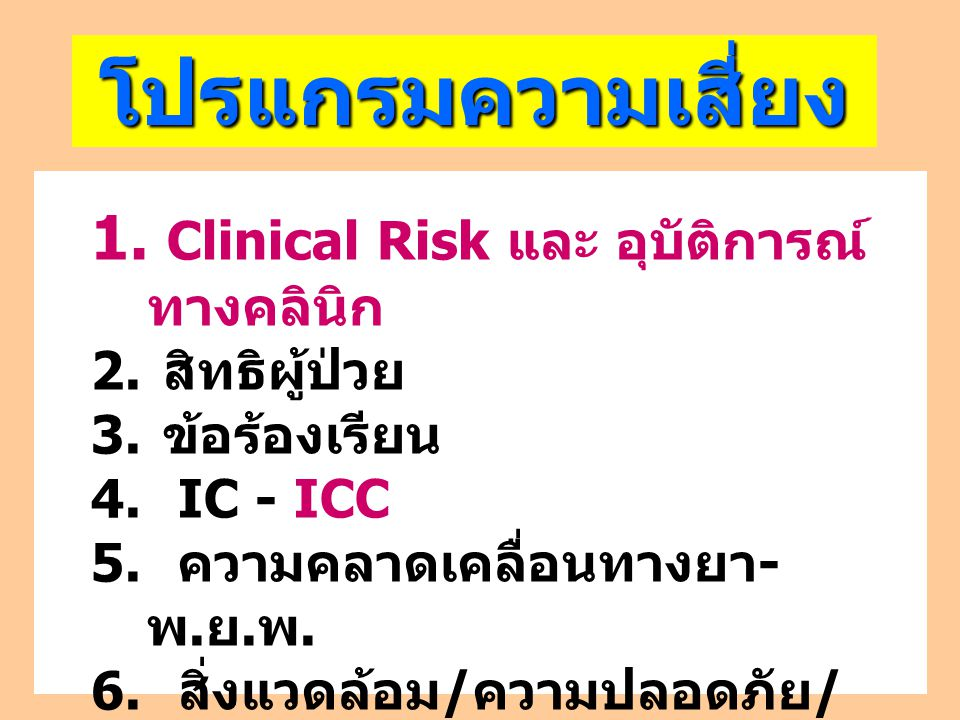 2.Patient safety indicators 1. Suandok safety goal Hospital Clinical risk