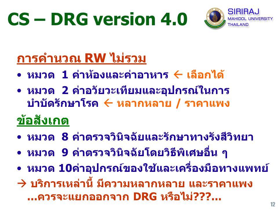 12 CS – DRG version 4.0 การคำนวณ RW ไม่รวม หมวด 1ค่าห้องและค่าอาหาร  เลือกได้ หมวด 2 ค่าอวัยวะเทียมและอุปกรณ์ในการ บำบัดรักษาโรค  หลากหลาย / ราคาแพง