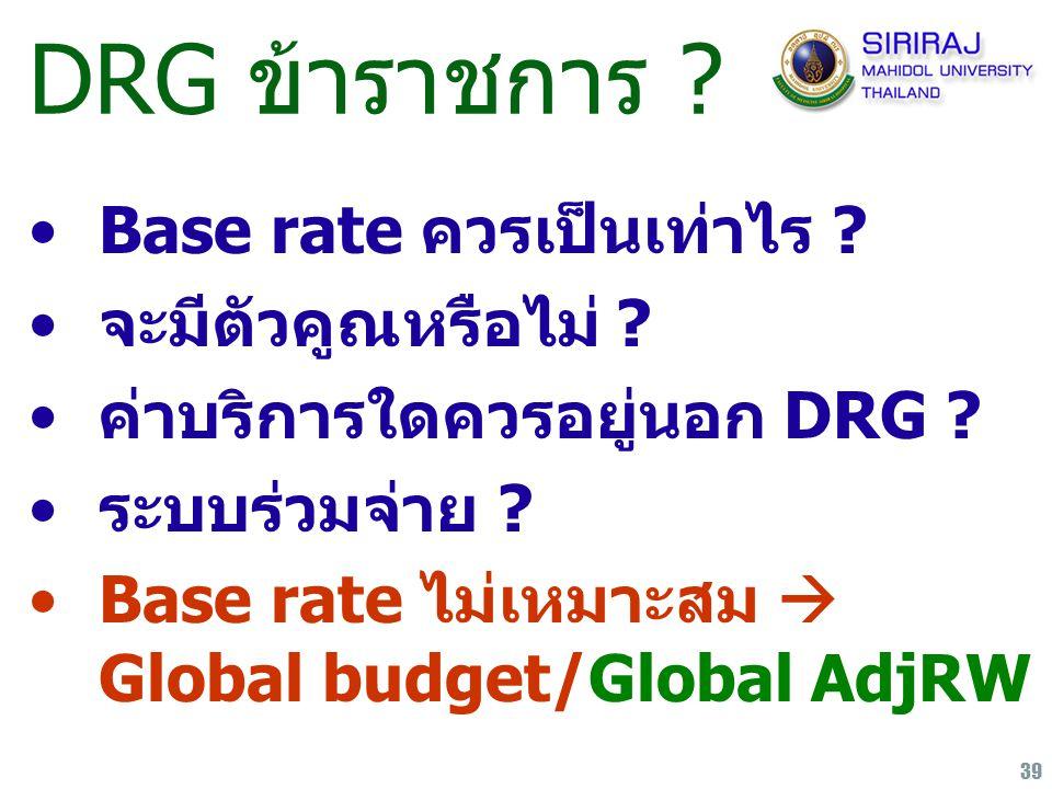 39 DRG ข้าราชการ ? Base rate ควรเป็นเท่าไร ? จะมีตัวคูณหรือไม่ ? ค่าบริการใดควรอยู่นอก DRG ? ระบบร่วมจ่าย ? Base rate ไม่เหมาะสม  Global budget/Globa