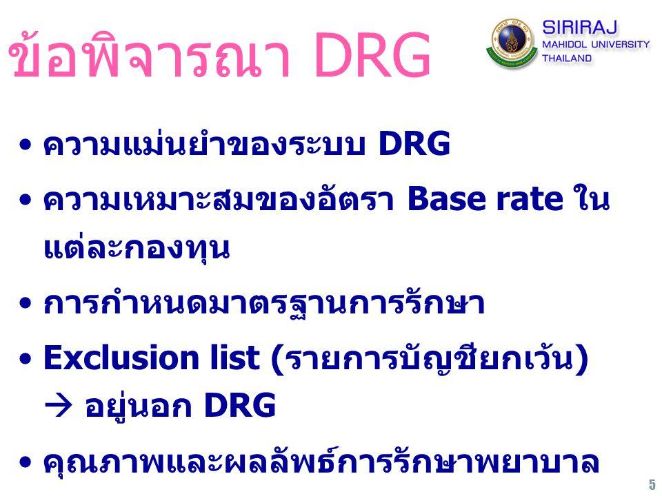 5 ข้อพิจารณา DRG ความแม่นยำของระบบ DRG ความเหมาะสมของอัตรา Base rate ใน แต่ละกองทุน การกำหนดมาตรฐานการรักษา Exclusion list (รายการบัญชียกเว้น)  อยู่น