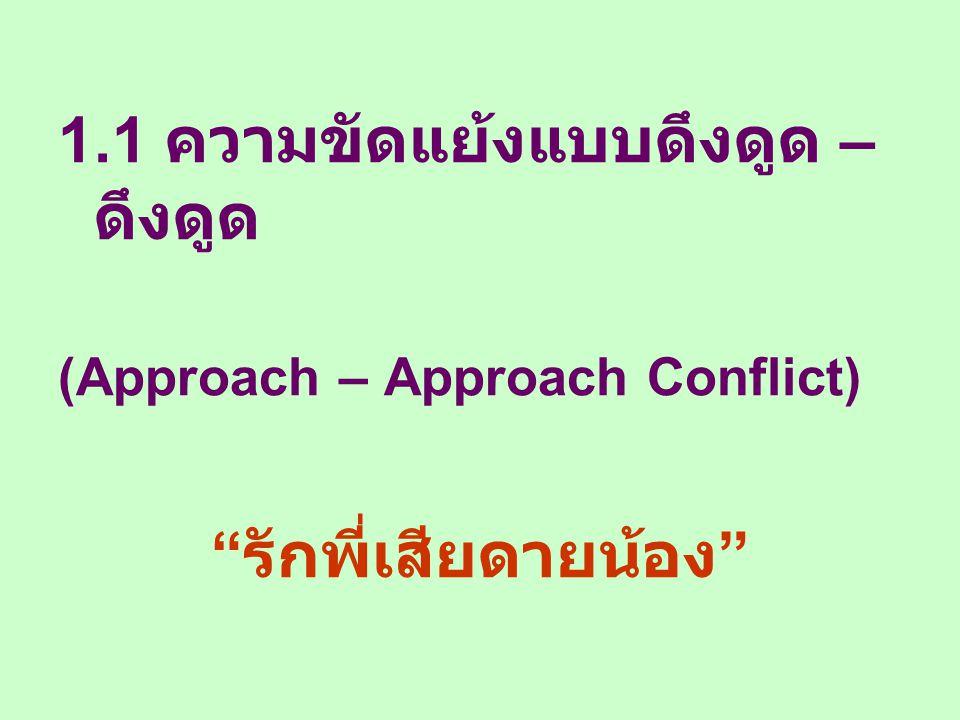 """1.1 ความขัดแย้งแบบดึงดูด – ดึงดูด (Approach – Approach Conflict) """" รักพี่เสียดายน้อง """""""