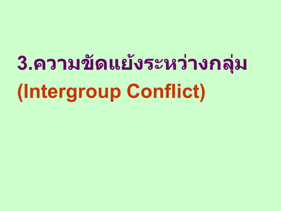 3. ความขัดแย้งระหว่างกลุ่ม (Intergroup Conflict)