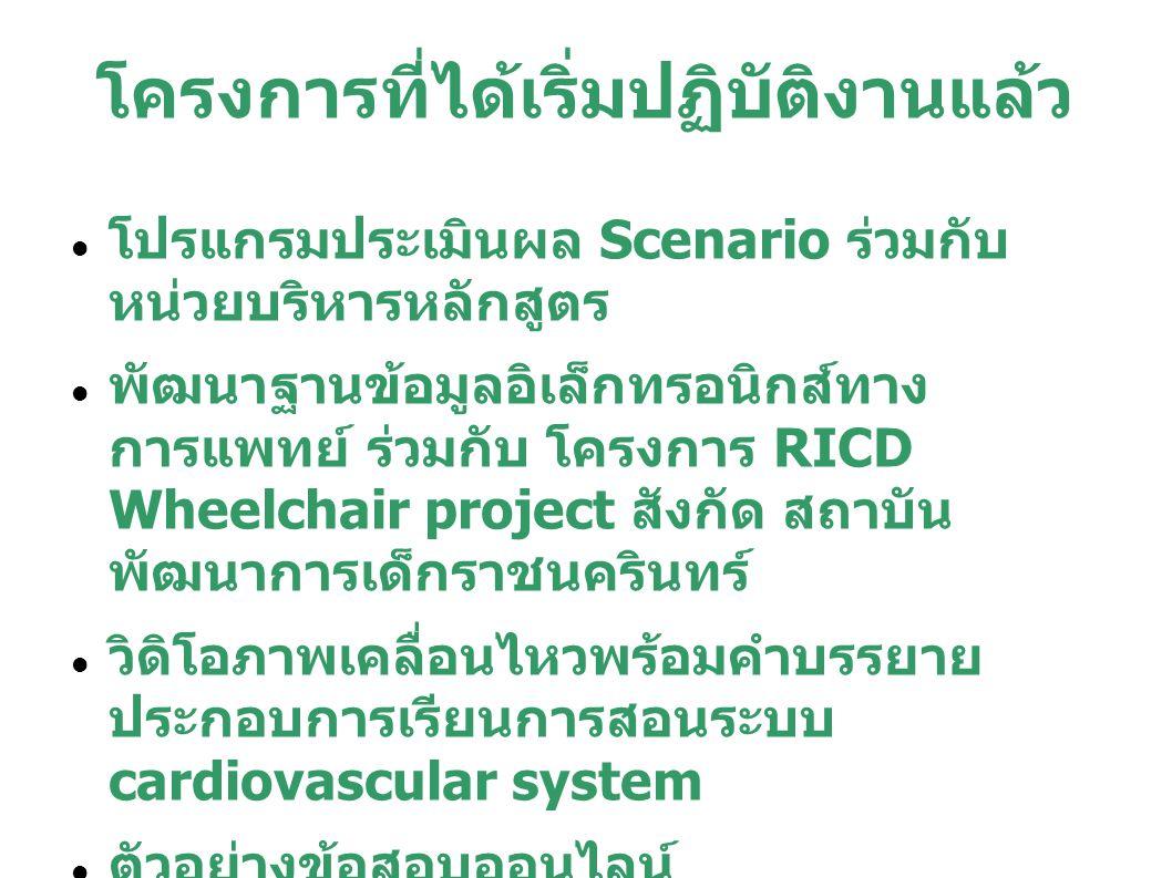 โครงการที่ได้เริ่มปฏิบัติงานแล้ว โปรแกรมประเมินผล Scenario ร่วมกับ หน่วยบริหารหลักสูตร พัฒนาฐานข้อมูลอิเล็กทรอนิกส์ทาง การแพทย์ ร่วมกับ โครงการ RICD W
