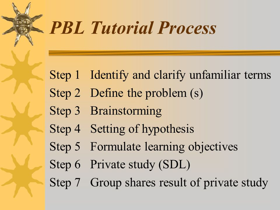 PBL Tutorial Process Step 1 Identify and clarify unfamiliar terms Step 2 Define the problem (s) Step 3 Brainstorming Step 4 Setting of hypothesis Step 5 Formulate learning objectives Step 6 Private study (SDL) Step 7 Group shares result of private study