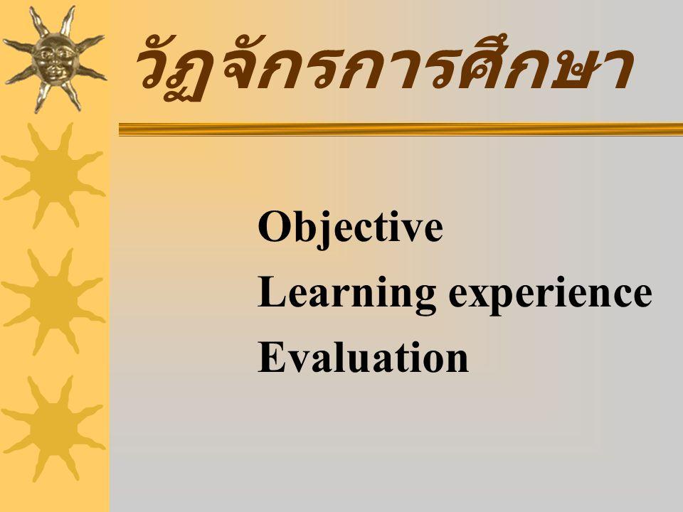  Knowledge จำได้ ➙ เข้าใจ ➙ แก้ปัญหาได้  Skill รู้วิธีทำ ➙เข้าใจวิธีทำ ➙ทำได้ถูกต้อง  Attitude จำได้➙อธิบายได้➙นำไปปฏิบัติในชีวิตจริง Objective