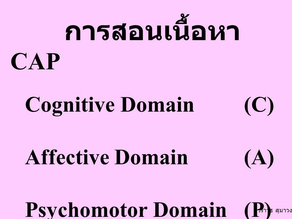 การสอนเนื้อหา CAP Cognitive Domain(C) Affective Domain (A) Psychomotor Domain (P) วราวุธ สุมาวงศ์