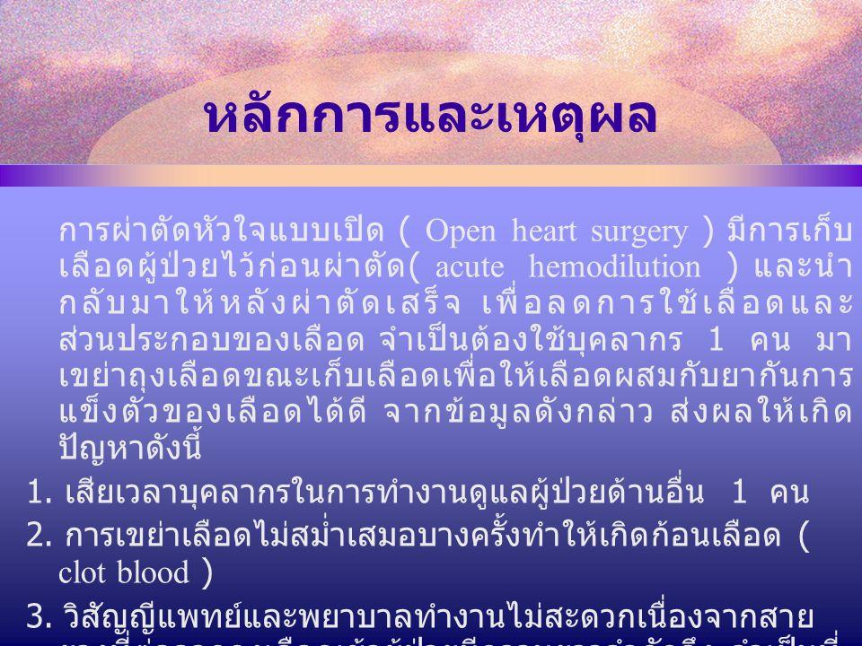 หลักการและเหตุผล การผ่าตัดหัวใจแบบเปิด ( Open heart surgery ) มีการเก็บ เลือดผู้ป่วยไว้ก่อนผ่าตัด ( acute hemodilution ) และนำ กลับมาให้หลังผ่าตัดเสร็