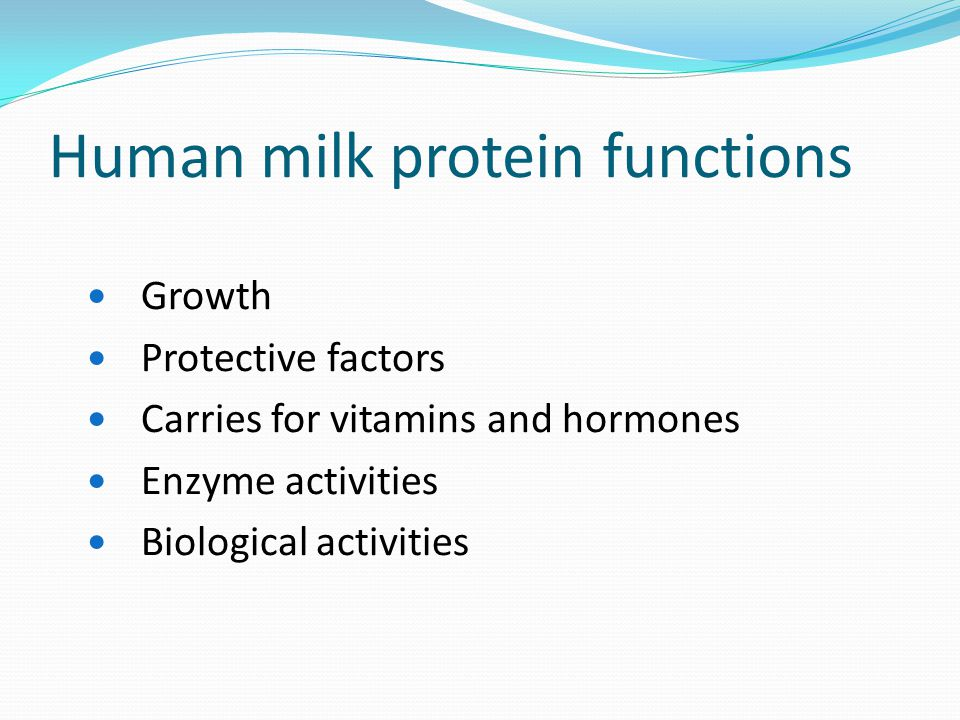 Human milk protein functions Growth Protective factors Carries for vitamins and hormones Enzyme activities Biological activities