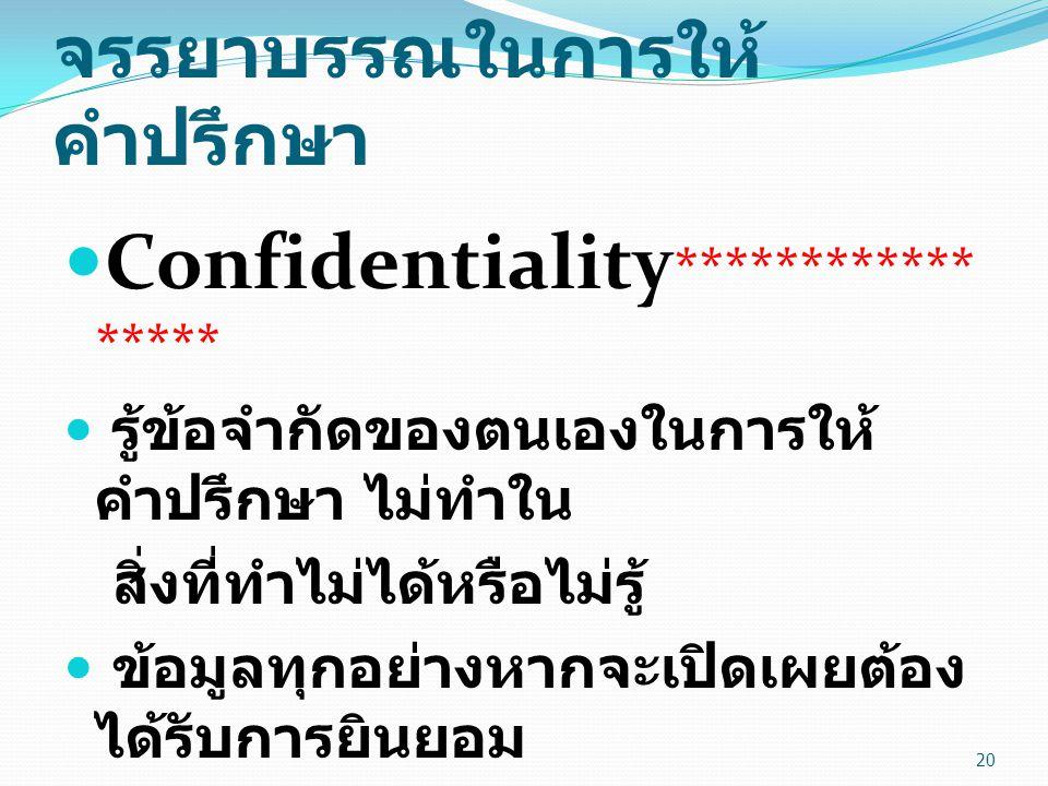 จรรยาบรรณในการให้ คำปรึกษา Confidentiality ************ ***** รู้ข้อจำกัดของตนเองในการให้ คำปรึกษา ไม่ทำใน สิ่งที่ทำไม่ได้หรือไม่รู้ ข้อมูลทุกอย่างหาก
