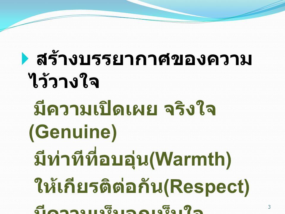  สร้างบรรยากาศของความ ไว้วางใจ มีความเปิดเผย จริงใจ (Genuine) มีท่าทีที่อบอุ่น (Warmth) ให้เกียรติต่อกัน (Respect) มีความเห็นอกเห็นใจ (Empathy) 3