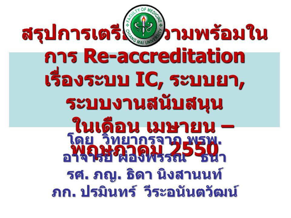 สรุปการเตรียมความพร้อมใน การ Re-accreditation เรื่องระบบ IC, ระบบยา, ระบบงานสนับสนุน ในเดือน เมษายน – พฤษภาคม 2550 โดย วิทยากรจาก พรพ.