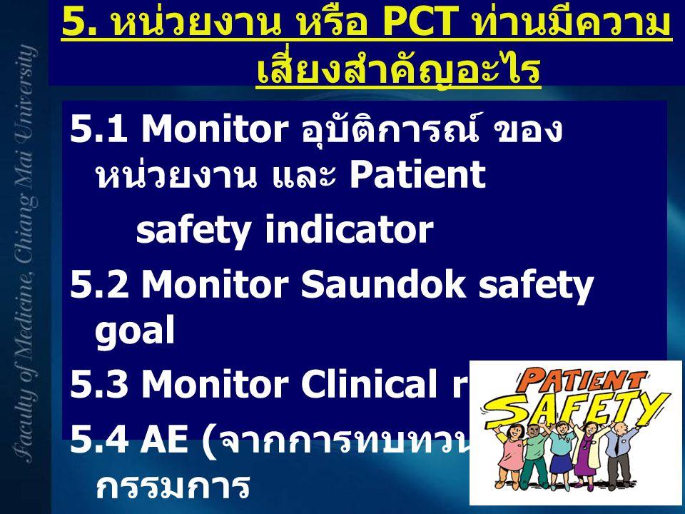 5. หน่วยงาน หรือ PCT ท่านมีความ เสี่ยงสำคัญอะไร 5.1 Monitor อุบัติการณ์ ของ หน่วยงาน และ Patient safety indicator 5.2 Monitor Saundok safety goal 5.3