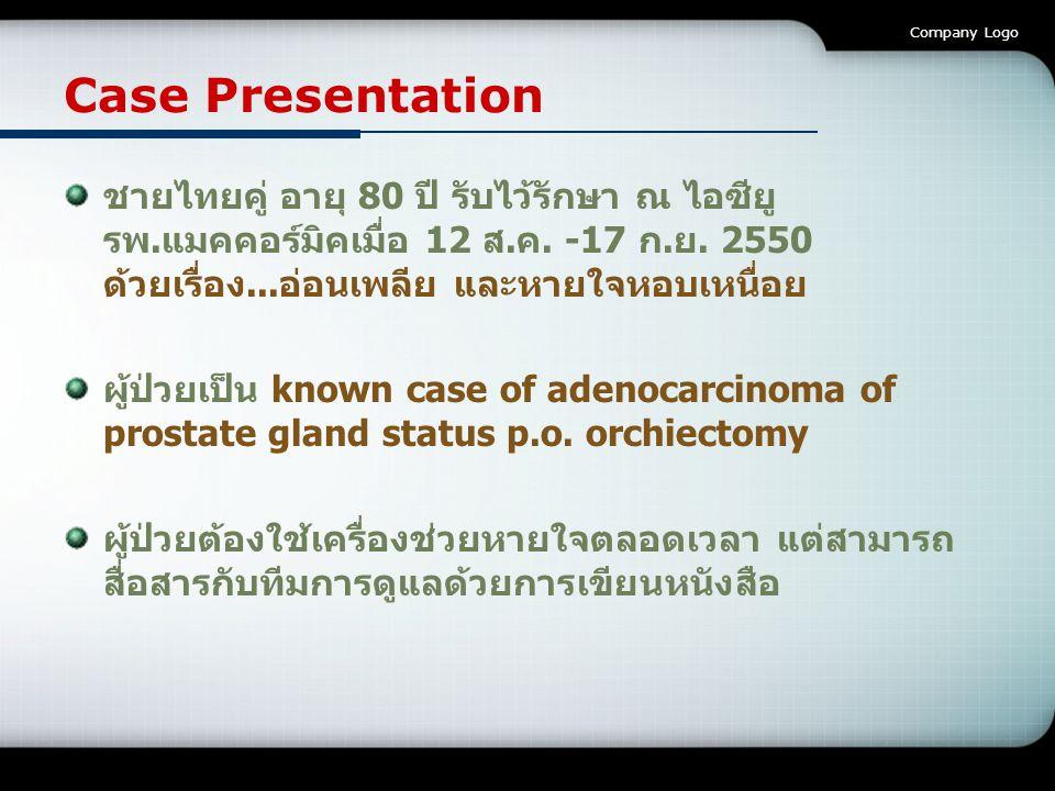 Company Logo Case Presentation ชายไทยคู่ อายุ 80 ปี รับไว้รักษา ณ ไอซียู รพ.แมคคอร์มิคเมื่อ 12 ส.ค. -17 ก.ย. 2550 ด้วยเรื่อง...อ่อนเพลีย และหายใจหอบเห