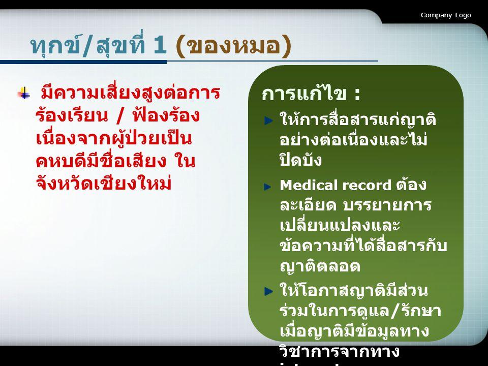 Company Logo ทุกข์/สุขที่ 2 (ของผู้ช่วยฯ) severe diarrhea จาก การให้อาหารที่มีโปรตีนสูง ทางสายยาง ผู้ช่วยฯประสบเหตุแจ้ง พยาบาล ปรึกษากันระหว่างทีม การรักษาประกอบด้วย อายุรแพทย์ แพทย์ ผู้เชี่ยวชาญโรคไต นัก โภชนาการ และ พยาบาล ได้ข้อสรุปว่าเกิดจาก การแพ้นมวัว lactose intolerance นักโภชนาการได้จัด สูตรอาหารใหม่ที่ไม่มี นมวัวเป็นส่วนผสมก็ สามารถแก้ไขปัญหา ได้