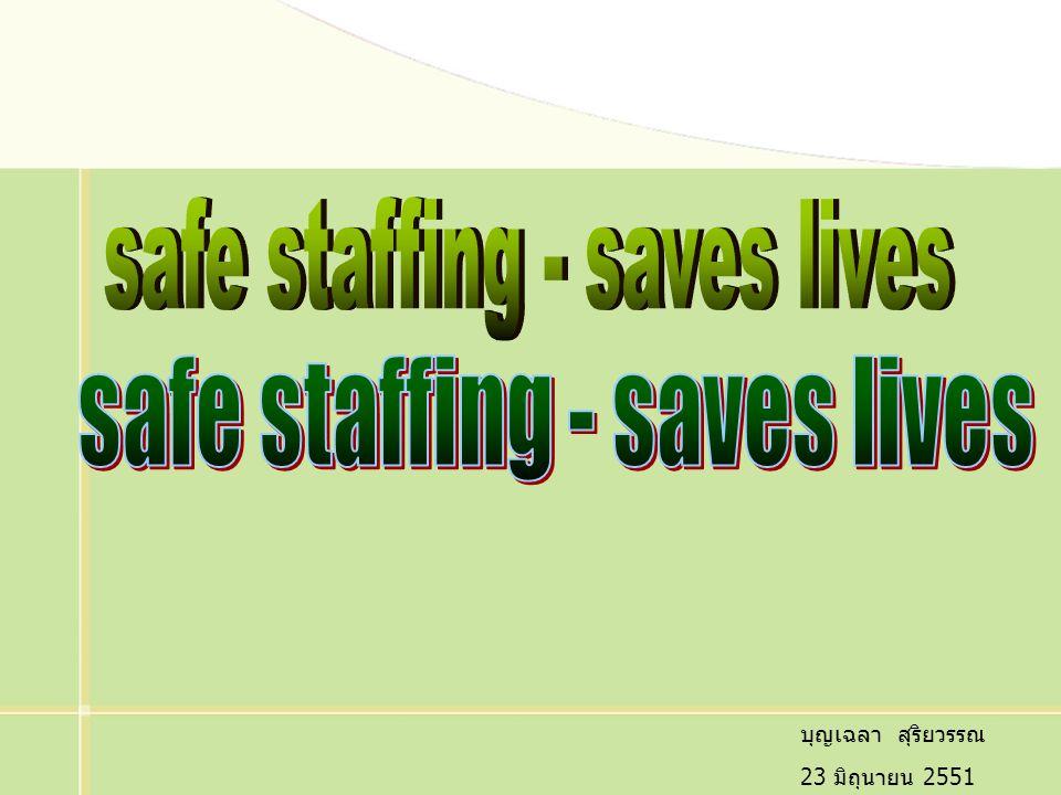 12 การใช้อัตรากำลังพยาบาลที่เหมาะสม เพิ่มคุณภาพการดูแล และลดค่าใช้จ่าย ลดการบาดเจ็บต่อ ผู้ป่วย การใช้สัดส่วนที่เหมาะสมในที่หนึ่ง แต่อาจจะไม่เพียงพอกับ อีกแห่งหนึ่งก็ได้ Safe staffing is not a one size fits all การเพิ่มจำนวนพยาบาลอย่างเพียงพอ รวมทั้งเสริมจำนวน LPN ทำให้ลดอัตราการเกิดภาวะแทรกซ้อน, ลด LOS, ผู้ป่วย เสียชีวิตน้อยลง พยาบาลมีความพึงพอใจเพิ่มขึ้น ลดการลาออก และ save ค่าใช้จ่ายของรพ.