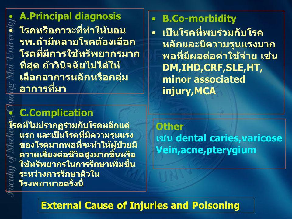A.Principal diagnosis โรคหรือภาวะที่ทำให้นอน รพ.ถ้ามีหลายโรคต้องเลือก โรคที่มีการใช้ทรัพยากรมาก ที่สุด ถ้าวินิจฉัยไม่ได้ให้ เลือกอาการหลักหรือกลุ่ม อา