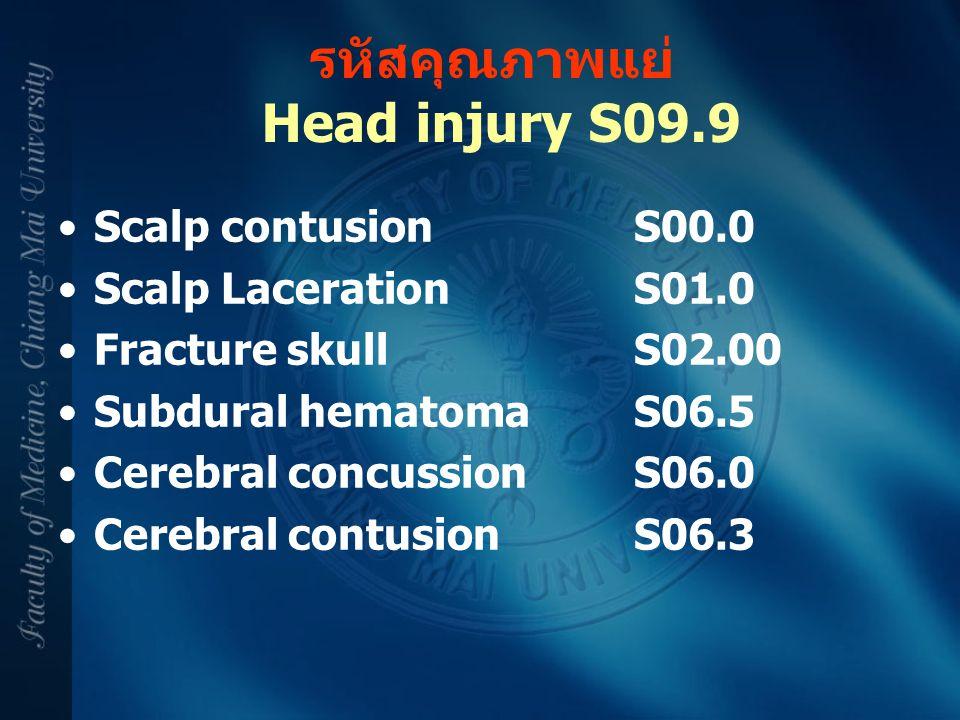 รหัสคุณภาพแย่ Head injury S09.9 Scalp contusionS00.0 Scalp LacerationS01.0 Fracture skullS02.00 Subdural hematomaS06.5 Cerebral concussionS06.0 Cerebr