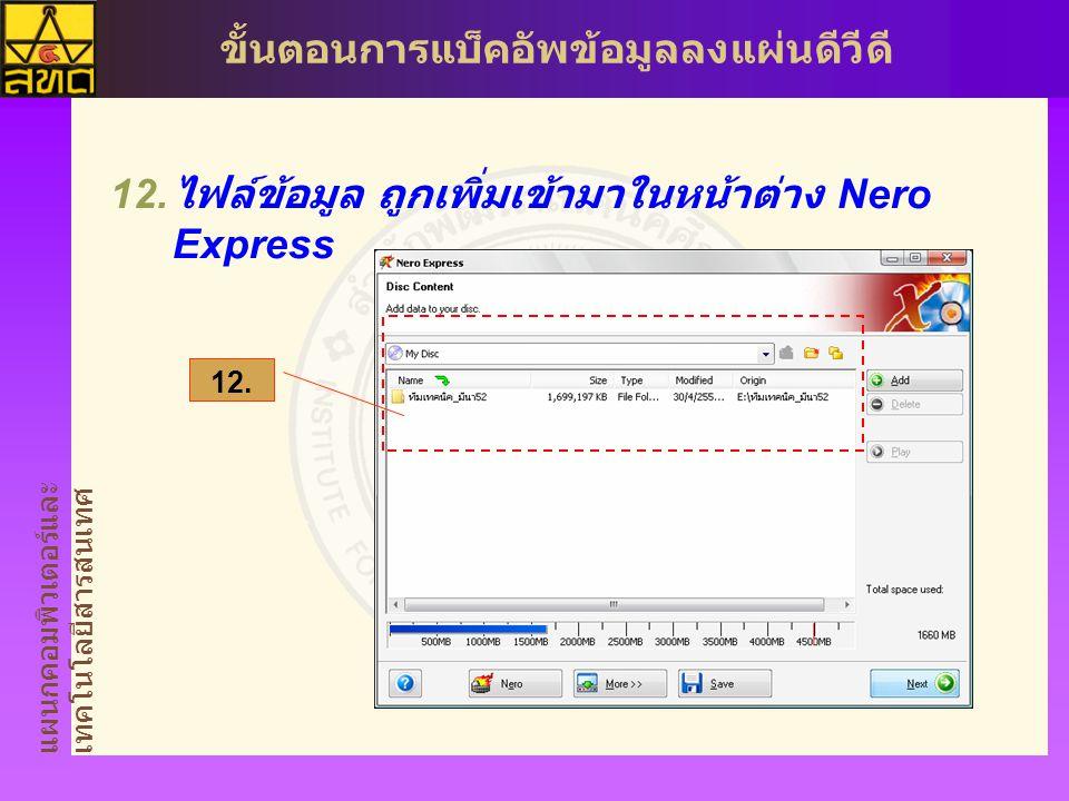 แผนกคอมพิวเตอร์และ เทคโนโลยีสารสนเทศ ขั้นตอนการแบ็คอัพข้อมูลลงแผ่นดีวีดี  ไฟล์ข้อมูล ถูกเพิ่มเข้ามาในหน้าต่าง Nero Express 12.