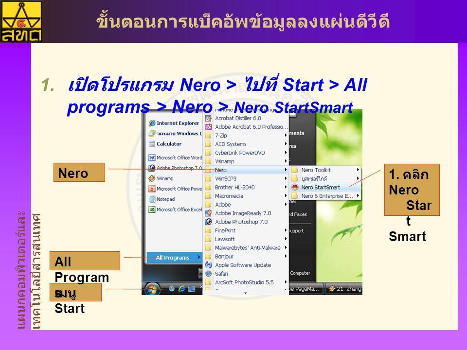 แผนกคอมพิวเตอร์และ เทคโนโลยีสารสนเทศ ขั้นตอนการแบ็คอัพข้อมูลลงแผ่นดีวีดี  เปิดโปรแกรม Nero > ไปที่ Start > All programs > Nero > Nero StartSmart 1.