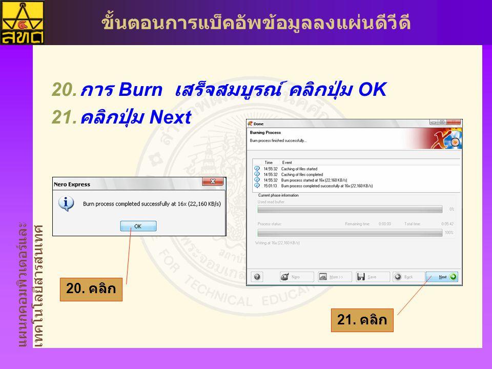 แผนกคอมพิวเตอร์และ เทคโนโลยีสารสนเทศ ขั้นตอนการแบ็คอัพข้อมูลลงแผ่นดีวีดี  การ Burn เสร็จสมบูรณ์ คลิกปุ่ม OK  คลิกปุ่ม Next 21.